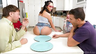 Young Latina Isabella Nice mouths the cocks be beneficial to four fellas