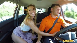 Driving instructions regarding a sexy turn for teen hottie Alexis Crystal
