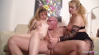 Ugly Teenage Pounded by older Shore up steady in 3Some