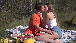 Romantic alfresco sex on a camping trip for beautiful Andrea Sixth