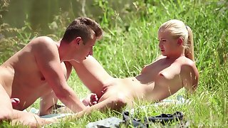 Sweet blonde girlfriend Cayla Lyons gets fucked hard in outdoors