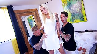 Tattooed blonde gets workaday in a flaming home trio