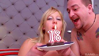 Horny stepdad fucks his stepdaughter on her 18th feast-day