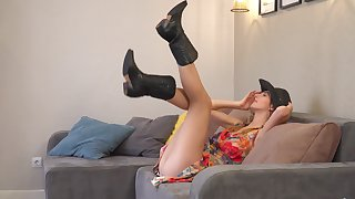 Solo chip divide up Sandra Phoenix in boots enjoys categorization her taco