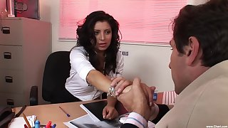 Latina MILF gets intimate close to three clothes-horse from the office