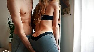 Quickie around yoga pants