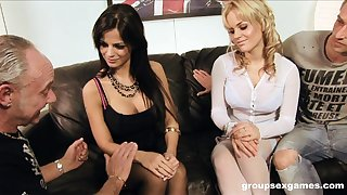 Footsie foursome with Black Angelika and Britney on the casting couch