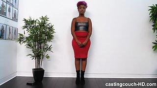 Amateur curvy ebony Alexandria sucks a black dick on the casting couch