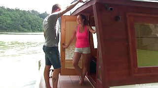 Antonia Sainz gets her pussy filled a friend's hard penis upstairs the boat